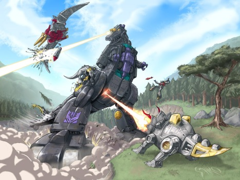 trypticon_vs_dinobots_by_espeng